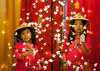 Two Girls behind Lit Flower Tree, Tet In Seattle,  Vietnamese New Year Festival 2019, Seattle Center, WA, USA.