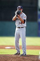 Mahoning Valley Scrappers pitcher Casey Shane (34) gets ready to deliver a pitch during a game against the Batavia Muckdogs on July 3, 2015 at Dwyer Stadium in Batavia, New York.  Batavia defeated Mahoning Valley 7-4.  (Mike Janes/Four Seam Images)