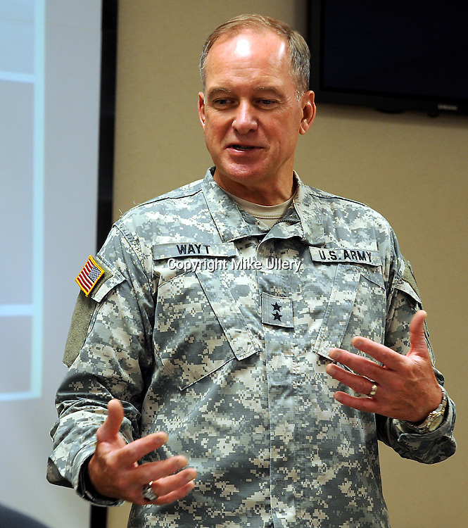 Staff Photo/Mike Ullery.Major General Gregory Wayt, Adjutant General for the Ohio National Guard talks about the three-fold mission of the Guard in Ohio during a media event at Rickenbacker Air Base in Columbus, Ohio on July 16, 2009.