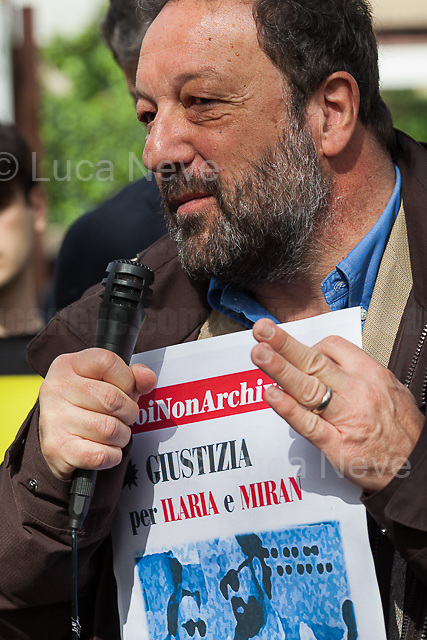 """Rino Pellino (Journalist).<br /> <br /> Rome, 17/04/2018. Today, journalists and their representatives, organizations, and members of the public gathered outside the Rome's Courts of Justice in Piazzale Clodio to protest against the proposal of the preliminary investigations Judge to close and archive the investigations and the proceedings into the murder of the RAI TG3 (State broadcaster Rai's third channel) journalist Ilaria Alpi and her camera operator Miran Hrovatin, killed in circumstances still to be clarified on 20 March 1994 in Mogadishu, Somalia. The demonstration called """"Noi non archiviamo il caso di Ilaria Alpi e Miran Hrovatin"""" (We [don't close and] archive the case of Ilaria Alpi & Miran Hrovatin) was supported by Libera, LiberaInformazione, FNSI (Federazione Nazionale della Stampa Italiana - Italian Trade Union Of Journalists), Usigrai, TG3, Cnogm, Articolo21, Rete NoBavaglio, Amnesty International Italy. The demonstration was attended, amongst others, by: Luciana Alpi (Mother of Ilaria Alpi), Hashi Omar Hassan (The innocent man who was wrongfully sentenced and spent 17 years in prison for complicity in the murder of Italian journalist Ilaria Alpi), Paolo Borrometi (Sicilian journalist who has to live under police escort/protection because a Catania mafia clan planned to kill him due to his journalistic work and investigations about mafia and corruption – for more info please click here: https://bit.ly/2HckBvn). <br /> <br /> For more info about Alpi-Hrovatin case please click here: http://www.ilariaalpi.it/ & https://bit.ly/2Hu0Y5o (In this article you can also find news about Hashi Omar Hassan) & https://bit.ly/2HN2z4c (Ilaria Alpi, Wikipedia) & https://bit.ly/2qGeeui (Miran Hrovatin, Wikipedia) & https://bit.ly/2Hg1yk4 (The Herald, Scotland) & https://bit.ly/2HbSSeg (ANSA – 17.04.18) <br /> <br /> For a video of the event by Radio Radicale please click here: https://t.co/Buu53Zxwkf"""