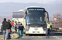 Pictured: Coaches used to transfer migrants Tuesday 23 February 2016<br /> Re: Migrants trying to cross the Greek-FYRO Macedonian border, were turned away by the authorities in Idomeni, Greece.