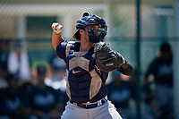 GCL Braves catcher Javier Valdes (11) throws down to second base during a Gulf Coast League game against the GCL Pirates on July 30, 2019 at Pirate City in Bradenton, Florida.  GCL Braves defeated the GCL Pirates 10-4.  (Mike Janes/Four Seam Images)