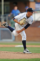 Asheville Tourists staring pitcher Tyler Anderson #13 delivers a pitch during a game against the Charleston RiverDogs at McCormick Field on May 28, 2012 in Asheville, North Carolina . The Tourists defeated the RiverDogs 15-12. (Tony Farlow/Four Seam Images).