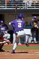 Daniel Cabrera (2) of the LSU Tigers at bat against the Georgia Bulldogs at Foley Field on March 23, 2019 in Athens, Georgia. The Bulldogs defeated the Tigers 2-0. (Brian Westerholt/Four Seam Images)