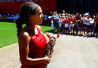 WASHINGTON D.C. - September 02, 2013:<br /> Sydney Leroux  and her dog During a USA WNT open practice at RFK Stadium, in Washington D.C. the day before the USA v Mexico international friendly match.