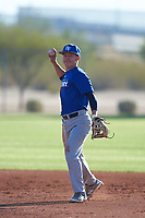 William Thompson (52), from Haiku, Hawaii, while playing for the Dodgers during the Under Armour Baseball Factory Recruiting Classic at Red Mountain Baseball Complex on December 28, 2017 in Mesa, Arizona. (Zachary Lucy/Four Seam Images)