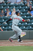 Deiner Lopez (5) of the Salem Red Sox follows through on his swing against the Winston-Salem Dash at BB&T Ballpark on June 16, 2016 in Winston-Salem, North Carolina.  The Dash defeated the Red Sox 7-1.  (Brian Westerholt/Four Seam Images)