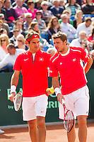 15-09-12, Netherlands, Amsterdam, Tennis, Daviscup Netherlands-Suisse, Doubles,    Roger Federer/Stanislas Wawrinka.(R)