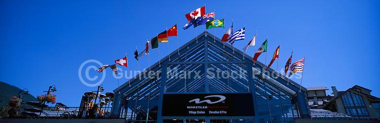 International Flags on Whistler Village Gondola Building, Whistler Ski Resort, BC, British Columbia, Canada - Panoramic View