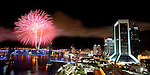 Fireworks explode on New Year's Eve over the St. Johns River in downtown Jacksonville, Florida.    (Mark Wallheiser/TallahasseeStock.com)