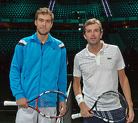 11-02-14, Netherlands,Rotterdam,Ahoy, ABNAMROWTT,Julien Benneteau(FRA) and Jerzy Janowicz(POL)<br /> Photo:Tennisimages/Henk Koster