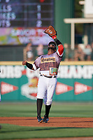 Rochester Red Wings first baseman Kennys Vargas (30) settles under a fly ball during a game against the Lehigh Valley IronPigs on June 29, 2018 at Frontier Field in Rochester, New York.  Lehigh Valley defeated Rochester 2-1.  (Mike Janes/Four Seam Images)