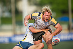 Penguin International (in white and yellow) defeat King's College at UQ (in white) 17 to 0 during GFI HKFC Rugby Tens 2016 on 06 April 2016 at Hong Kong Football Club in Hong Kong, China. Photo by Juan Manuel Serrano / Power Sport Images