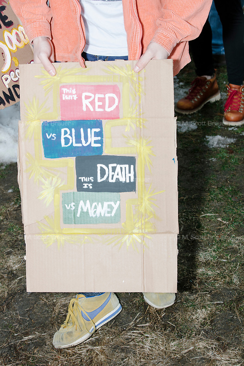 """People gather during the March For Our Lives protest and demonstration in Boston Common in Boston, Massachusetts, USA, on Sat., March 24, 2018. The march was held in response to recent school gun violence. Here, a person holds a sign reading, """"This isn't red vs. blue / This is death vs. money."""""""
