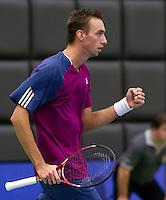 17-12-10, Tennis, Rotterdam, Reaal Tennis Masters 2010,    Thomas Schoorel  bald zijn vuist, hij heeft Jannick Lupescu verslagen