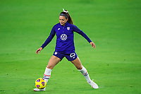 ORLANDO, FL - JANUARY 18: Sophia Smith #25 of the USWNT dribbles the ball before a game between Colombia and USWNT at Exploria Stadium on January 18, 2021 in Orlando, Florida.