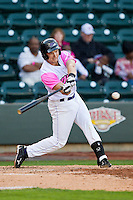 Chris Curley (4) of the Winston-Salem Dash takes a swing at the baseball during the game against the Wilmington Blue Rocks at BB&T Ballpark on April 20, 2013 in Winston-Salem, North Carolina.  The Dash defeated the Blue Rocks 4-2 in game one of a double-header.  (Brian Westerholt/Four Seam Images)