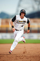 Quad Cities River Bandits right fielder Myles Straw (4) running the bases during a game against the Bowling Green Hot Rods on July 24, 2016 at Modern Woodmen Park in Davenport, Iowa.  Quad Cities defeated Bowling Green 6-5.  (Mike Janes/Four Seam Images)