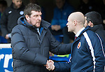 St Johnstone v Stenhousemuir…21.01.17  McDiarmid Park  Scottish Cup<br />Tommy Wright shakes hands with Brown Ferguson before kick off<br />Picture by Graeme Hart.<br />Copyright Perthshire Picture Agency<br />Tel: 01738 623350  Mobile: 07990 594431