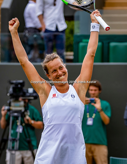 London, England, 6 July, 2019, Tennis,  Wimbledon, Womans single: Barbora Strycova  (CZE) celebrates her win over Bertens (NED)<br /> Photo: Henk Koster/tennisimages.com