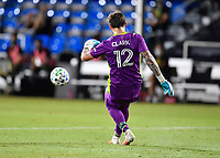 LAKE BUENA VISTA, FL - JULY 18: Steve Clark #12 of the Portland Timbers passes the ball during a game between Houston Dynamo and Portland Timbers at ESPN Wide World of Sports on July 18, 2020 in Lake Buena Vista, Florida.