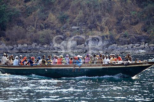 Gombe, Tanzania. Pedestrian ferry boat overloaded with people on Lake Tanganyika.