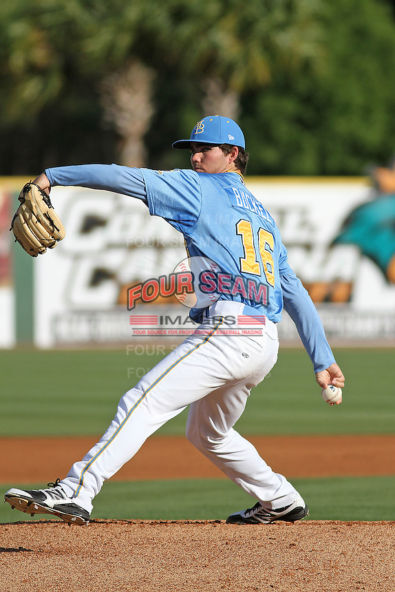 Myrtle Beach Pelicans pitcher Cody Buckel #16 on the mound during the first game of a doubleheader against the Carolina Mudcats at Tickerreturn.com Field at Pelicans Ballpark on May 10, 2012 in Myrtle Beach, South Carolina. Myrtle Beach defeated Carolina by the score of 2-1. (Robert Gurganus/Four Seam Images)