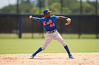 GCL Mets shortstop Federico Polanco (44) throws to first base during a Gulf Coast League game against the GCL Astros on August 10, 2019 at FITTEAM Ballpark of the Palm Beaches Training Complex in Palm Beach, Florida.  GCL Astros defeated the GCL Mets 8-6.  (Mike Janes/Four Seam Images)