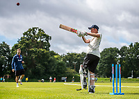 BNPS.co.uk (01202 558833)<br /> Pic: MaxWillcock/BNPS<br /> <br /> Pictured: Rob Franks back on the pitch in his new prosthetic blade at Parley Cricket Club in West Parley, Dorset.<br /> <br /> Disabled cricketer Rob Franks is back in the runs after raising £12,000 to buy a prosthetic blade.<br /> <br /> Rob, 42, can now sprint between the wickets when batting, run into bowl and chase after the ball in the field. <br /> <br /> Rob Franks, from Poole, Dorset, had his left leg amputated above the knee three years ago after suffering an injury while playing a match.