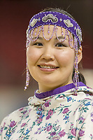Karlene Waghiyi, Siberian Yupik,  Eskimo and Indian Regalia contest at the 2007 World Eskimo Indian Olympics held in Anchorage, Alaska.