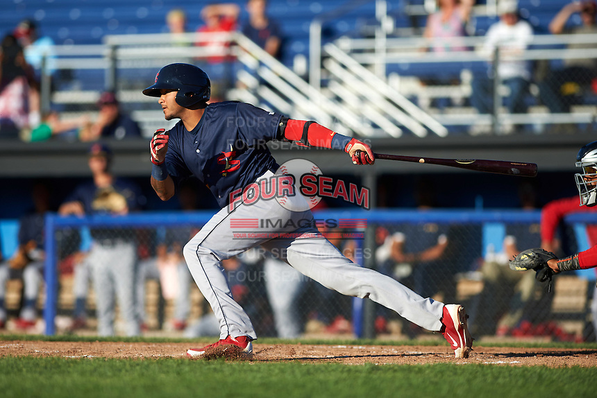 State College Spikes first baseman Ryan McCarvel (25) at bat during a game against the Batavia Muckdogs on June 23, 2016 at Dwyer Stadium in Batavia, New York.  State College defeated Batavia 8-4.  (Mike Janes/Four Seam Images)