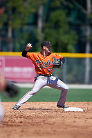 Baltimore Orioles Frank Crinella (29) throws to first base to try to complete a double play during a minor league Spring Training game against the Minnesota Twins on March 17, 2017 at the Buck O'Neil Baseball Complex in Sarasota, Florida.  (Mike Janes/Four Seam Images)