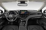 Stock photo of straight dashboard view of 2021 Toyota Camry-Hybrid XSE 4 Door Sedan Dashboard