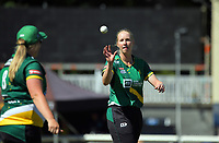 Central's Hannah Rowe prepares to bowl during the women's Dream11 Super Smash T20 cricket match between the Central Hinds and Auckland Hearts at Pukekura Park in New Plymouth, New Zealand on Thursday, 31 December 2020. Photo: Dave Lintott / lintottphoto.co.nz