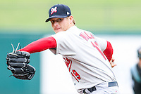 Shelby Miller (19) in action during the MiLB matchup between the Memphis Redbirds and the Oklahoma City Redhawks at Chickasaw Bricktown Ballpark on April 8th, 2012 in Oklahoma City, Oklahoma. The Redhawks defeated the Redbirds 8-1  (William Purnell/Four Seam Images)