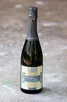 Bottle of Gangas Bijeli Pjenusac Suhi Brut white sparkling wine. Vita@I Vitaai Vitai Gangas Winery, Citluk, near Mostar. Federation Bosne i Hercegovine. Bosnia Herzegovina, Europe.