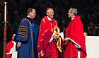 May 14, 2016; 2016 University of Notre Dame president Rev. John Jenkins, C.S.C., (right) and Notre Dame Board of Trustees chairman Richard Notebaert, present an honorary doctor of laws degree to Cardinal Donald Wuerl, during the 2016 Commencement Mass in the Purcell Pavilion. (Photo by Barbara Johnston/University of Notre Dame)