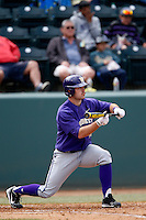 Joe Meggs #40 of the Washington Huskies attempts to bunt during a baseball game against the UCLA Bruins at Jackie Robinson Stadium on March 17, 2013 in Los Angeles, California. (Larry Goren/Four Seam Images)