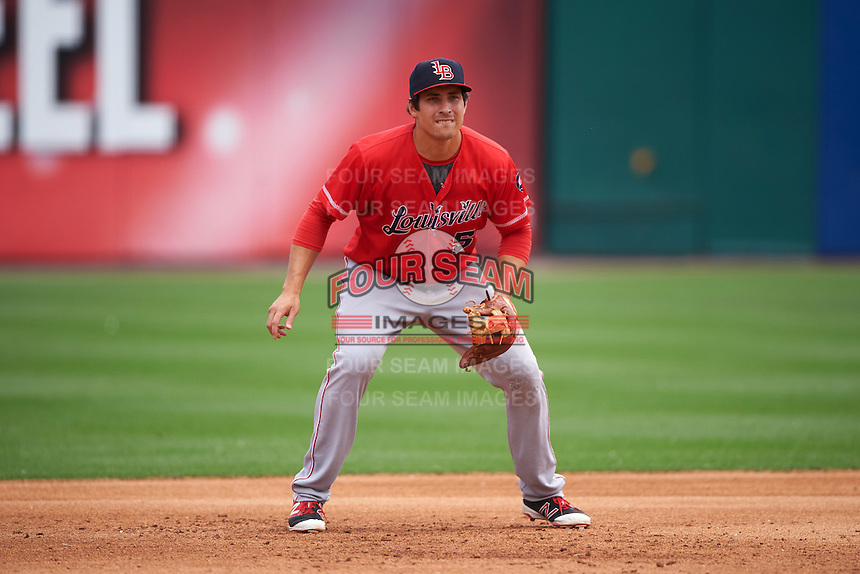 Louisville Bats third baseman Seth Mejias-Brean (5) during a game against the Buffalo Bisons on June 23, 2016 at Coca-Cola Field in Buffalo, New York.  Buffalo defeated Louisville 9-6.  (Mike Janes/Four Seam Images)