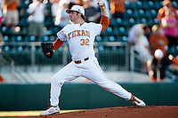 Texas Longhorns  pitcher Dillon Peters #32 delivers during the NCAA baseball game against the Central Arkansas Bears on April 24, 2012 at the UFCU Disch-Falk Field in Austin, Texas. The Longhorns beat the Bears 4-2. (Andrew Woolley / Four Seam Images).