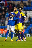Saturday 25 January 2014<br /> Pictured: ( L-R ) Reece Brown  is hugged by Roland Lamah  after the game with Wilfried Bony looks on <br /> Re: Birmingham City v Swansea City FA Cup fourth round match at St. Andrew's Birimingham