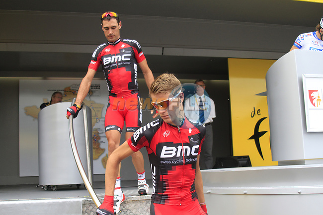 Michael Schar (SUI) and Manuel Quinziato (ITA) BMC Racing Team at sign on before the start of Stage 1 of the 99th edition of the Tour de France, running 198km from Liege to Seraing starting in Parc d'Avroy Liege, Belgium. 1st July 2012.<br /> (Photo by Eoin Clarke/NEWSFILE)