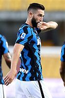 Roberto Gagliardini of FC Internazionale celebrates after scoring the goal of 0-2 during the Serie A football match between Benevento Calcio and FC Internazionale at Ciro Vigorito Stadium in Benevento (Italy), September 30th, 2020. Photo Cesare Purini / Insidefoto
