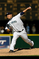 September 28, 2008: Seattle Mariners reliever Cesar Jimenez delivers a pitch against the Oakland Athletics at Safeco Field in Seattle, Washington..
