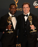 LOS ANGELES - SEP 18:  Sterling K Brown, John Travolta at the 2016 Primetime Emmy Awards - Press Room at the Microsoft Theater on September 18, 2016 in Los Angeles, CA