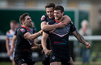 Jay Pitts of London Broncos celebrating his late try during the Kingstone Press Championship match between London Broncos and Rochdale Hornets at Castle Bar , West Ealing , England  on 26 March 2017. Photo by Steve Ball / PRiME Media Images.