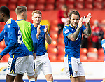 Aberdeen v St Johnstone…18.09.21  Pittodrie    SPFL<br />Stevie May celebrates at full time<br />Picture by Graeme Hart.<br />Copyright Perthshire Picture Agency<br />Tel: 01738 623350  Mobile: 07990 594431