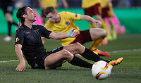 Calcio, Europa League: Lazio vs Sparta Praga. Roma, stadio Olimpico, 17 marzo 2016.<br /> Lazio's Stefano Mauri sits on the pitch during the round of 16 second leg soccer match between Lazio and Sparta Praha, at Rome's Olympic Stadium, 17 March 2016. Sparta Praha won 3-0 to join the quarter finals.<br /> UPDATE IMAGES PRESS/Isabella Bonotto