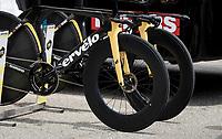 """black"" front wheels on the Team Jumbo-Visma TT bikes<br /> <br /> 104th Giro d'Italia 2021 (2.UWT)<br /> Stage 21 (final ITT) from Senago to Milan (30.3km)<br /> <br /> ©kramon"