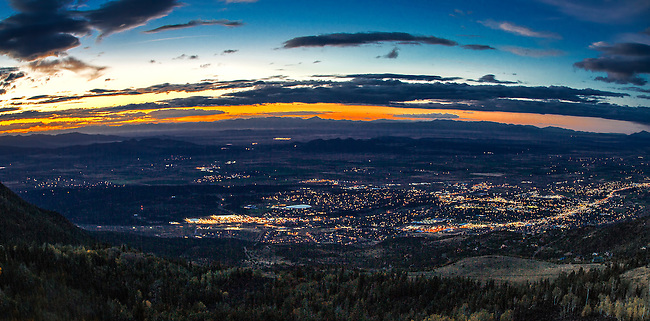 Cedar City  lights up at dusk in Southern Utah